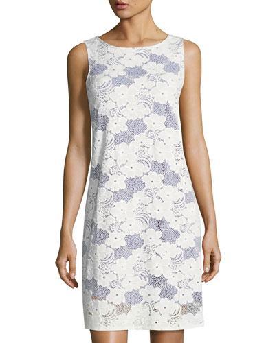 Neiman Marcus Sleeveless Lace Shift Dress, White/Blue