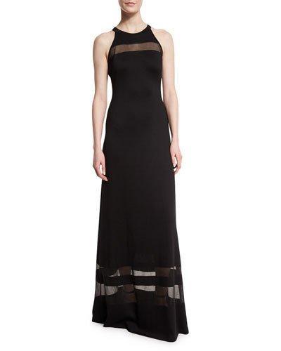 St. John Shine Milano Knit Gown W/ Sheer Stripes, Caviar