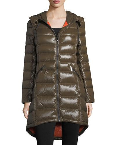 French Connection Hooded Quilted Puffer Coat In Olive