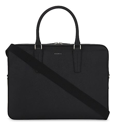 Sandro Leather Briefcase In Black