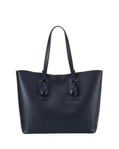 Neiman Marcus Ruga Leather Tote Bag In Dark Blue