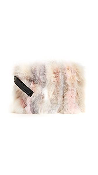 Jocelyn Fox Fur Clutch In Nude Multi