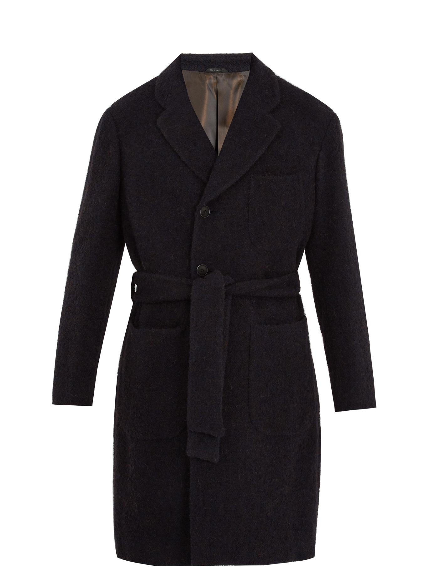 Giorgio Armani Single-Breasted Tie-Waist BouclÉ Coat In Navy