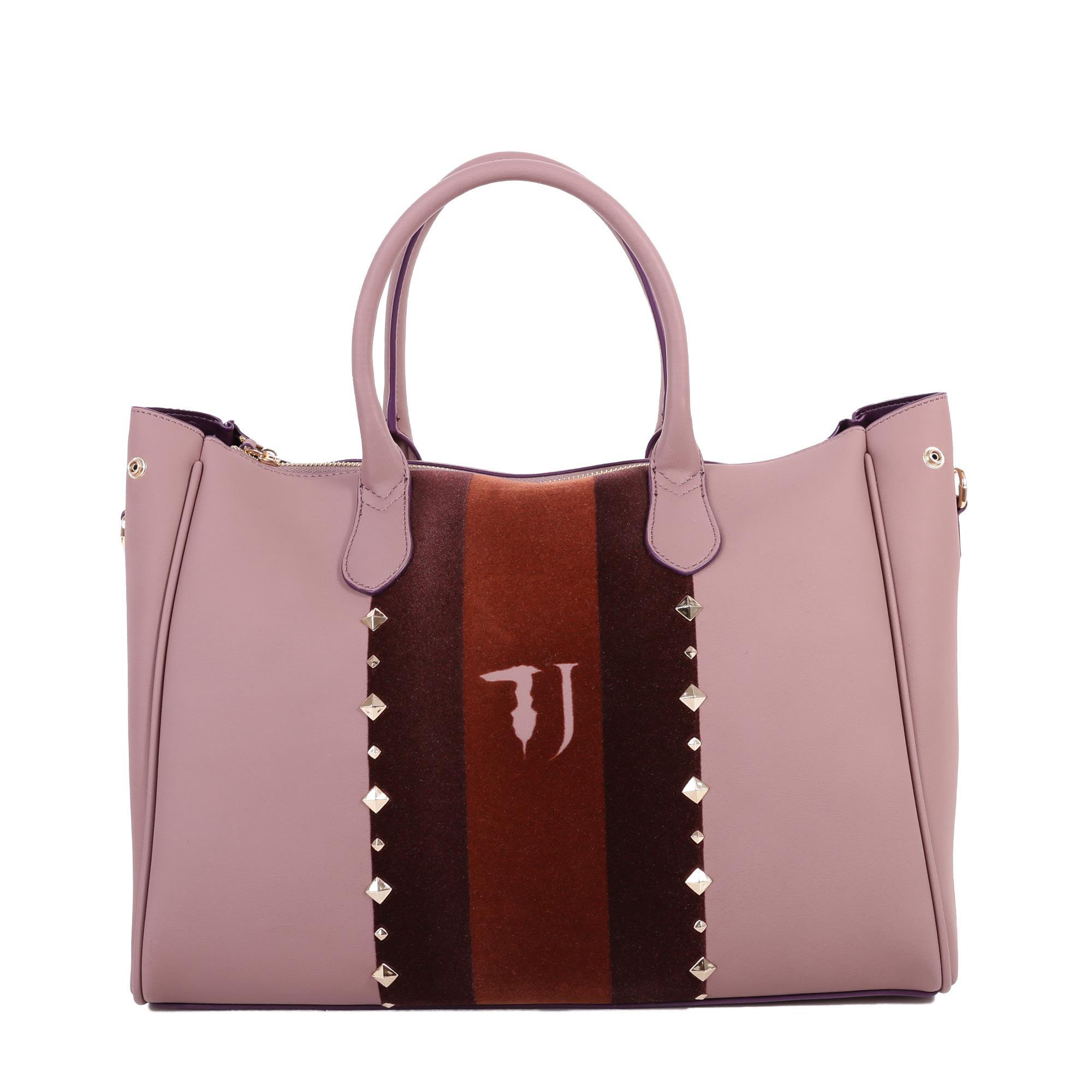 Trussardi Blondie Faux Leather Tote Bag In Pink