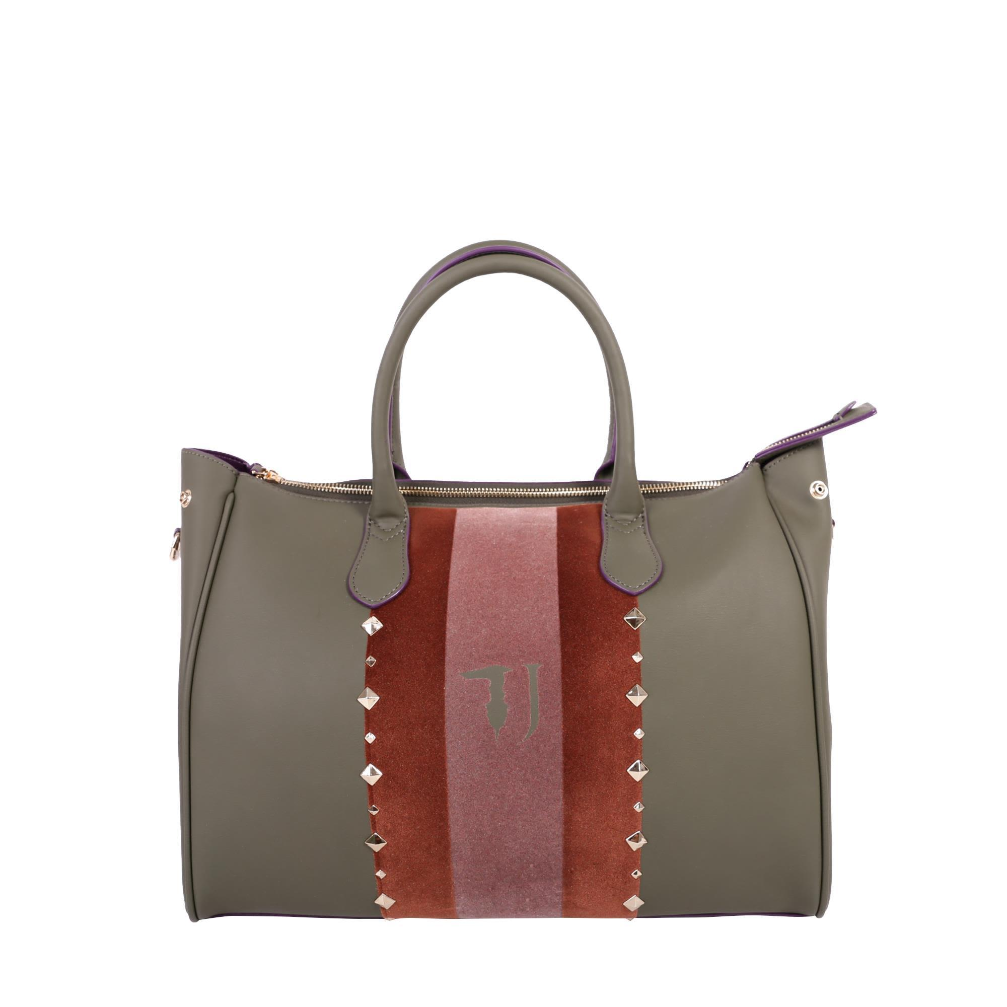 Trussardi Blondie Faux Leather Tote Bag In Military Green