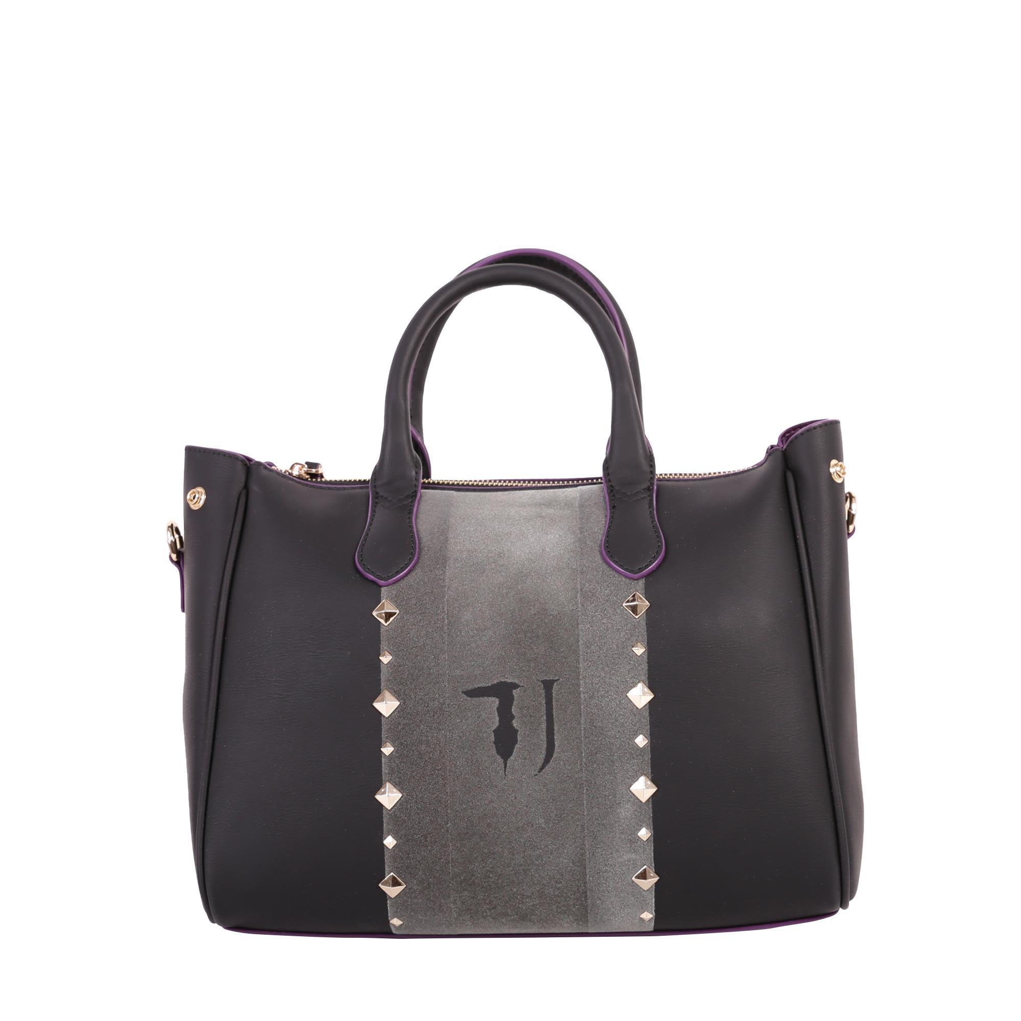Trussardi Blondie Faux Leather Tote Bag In Black