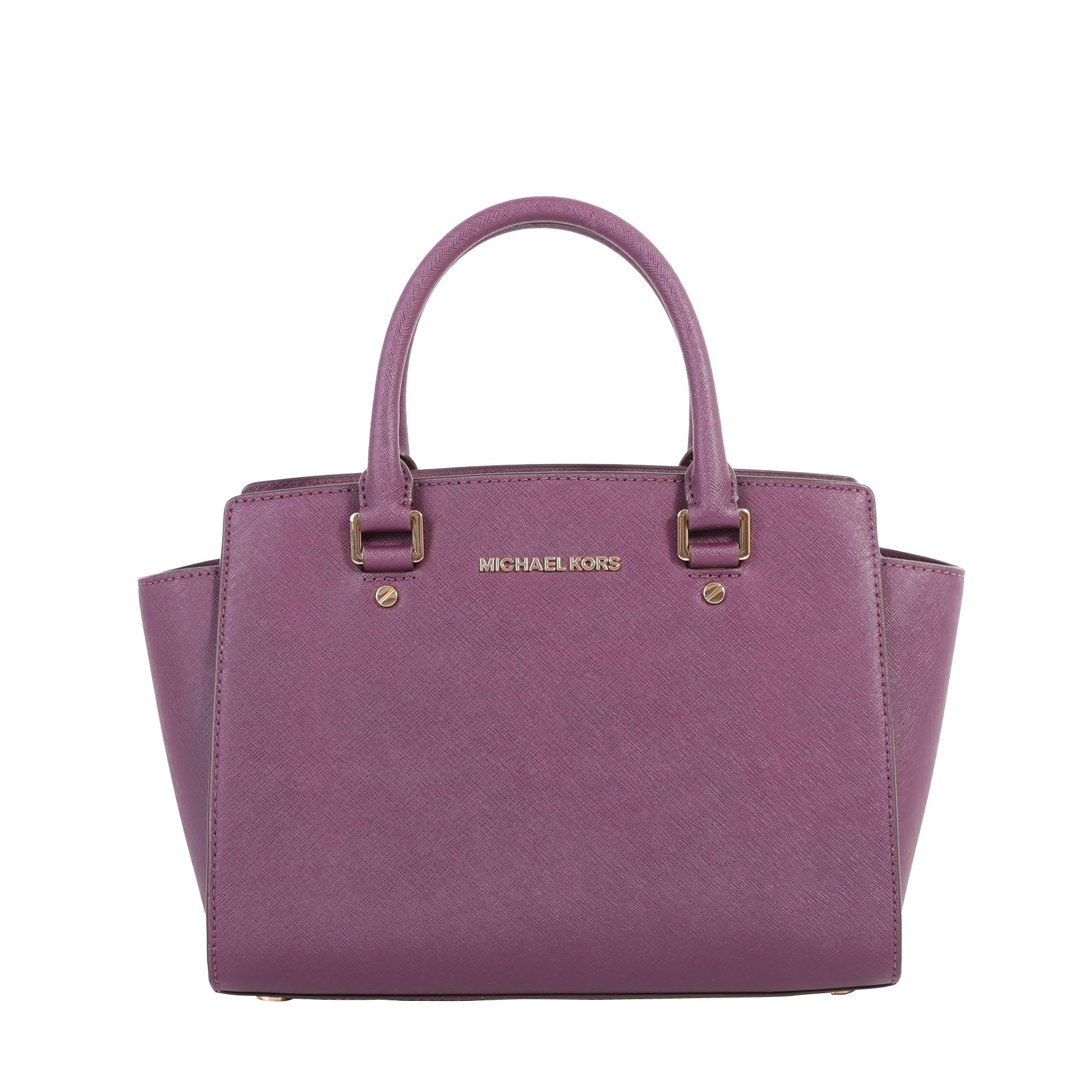 Michael Michael Kors Selma Saffiano Leaher Bag In Purple