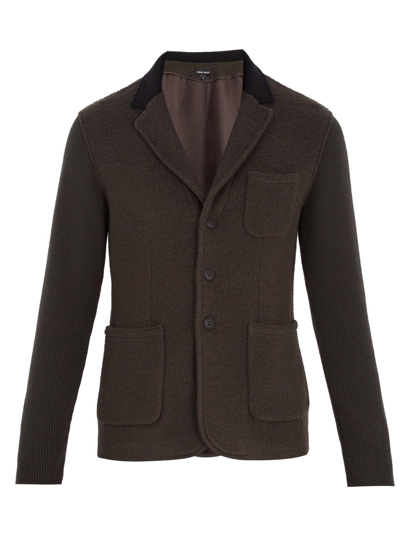 Giorgio Armani Patch-Pocket Wool-Blend Blazer In Brown