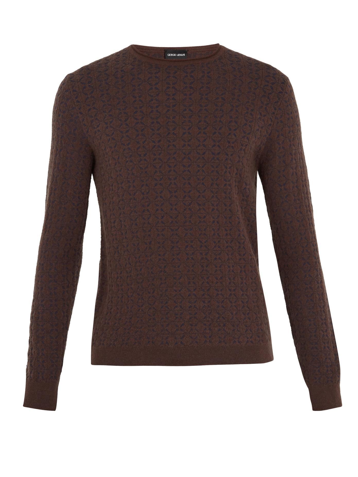 Giorgio Armani - Geometric Intarsia Crew Neck Sweater - Mens - Brown