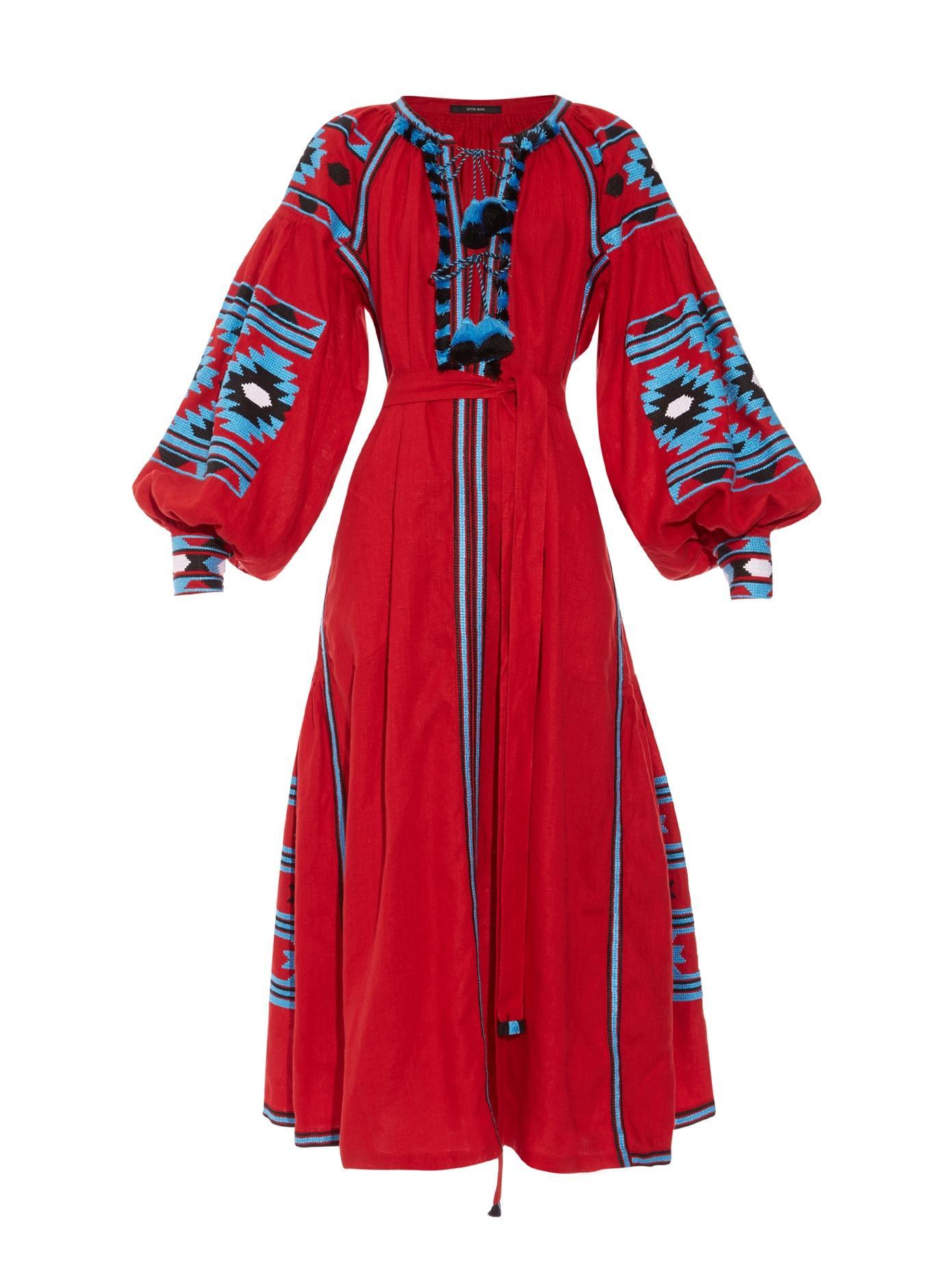 Vita Kin Kilim-Embroidered Long Dress In Red