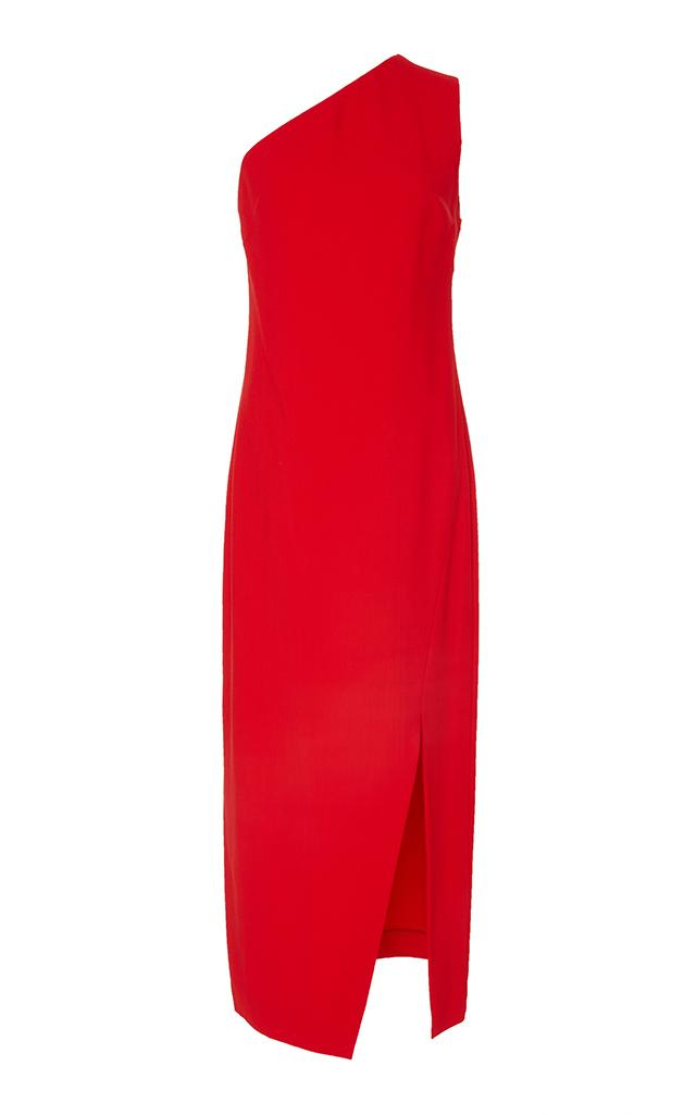 Khaite Ally Asymmetrical Dress In Red
