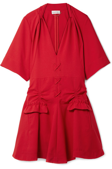 Carven Stitch And Pocket Detailed Mini Dress In Red