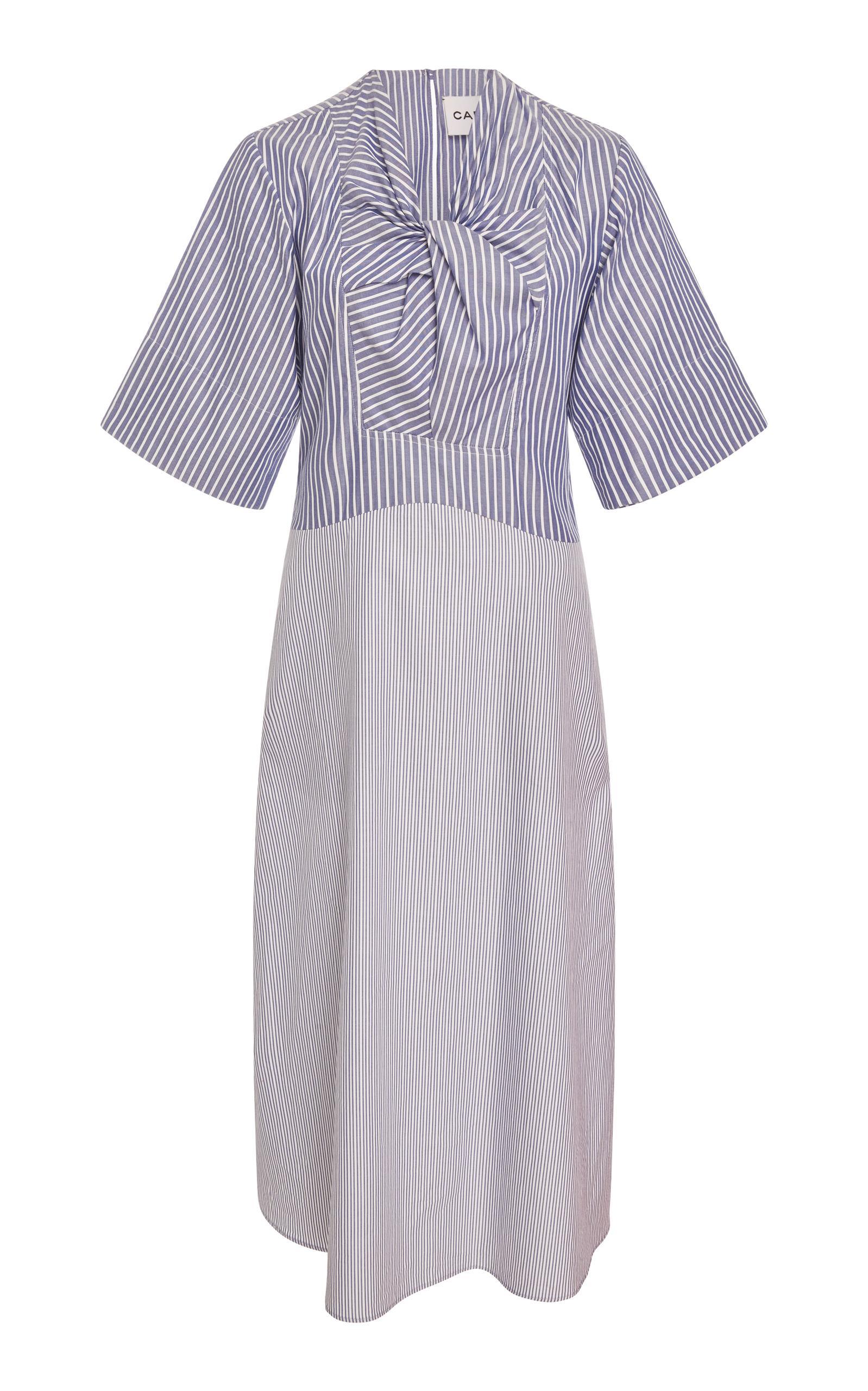 Carven Twist Front Pinstripe Midi Dress In Stripe