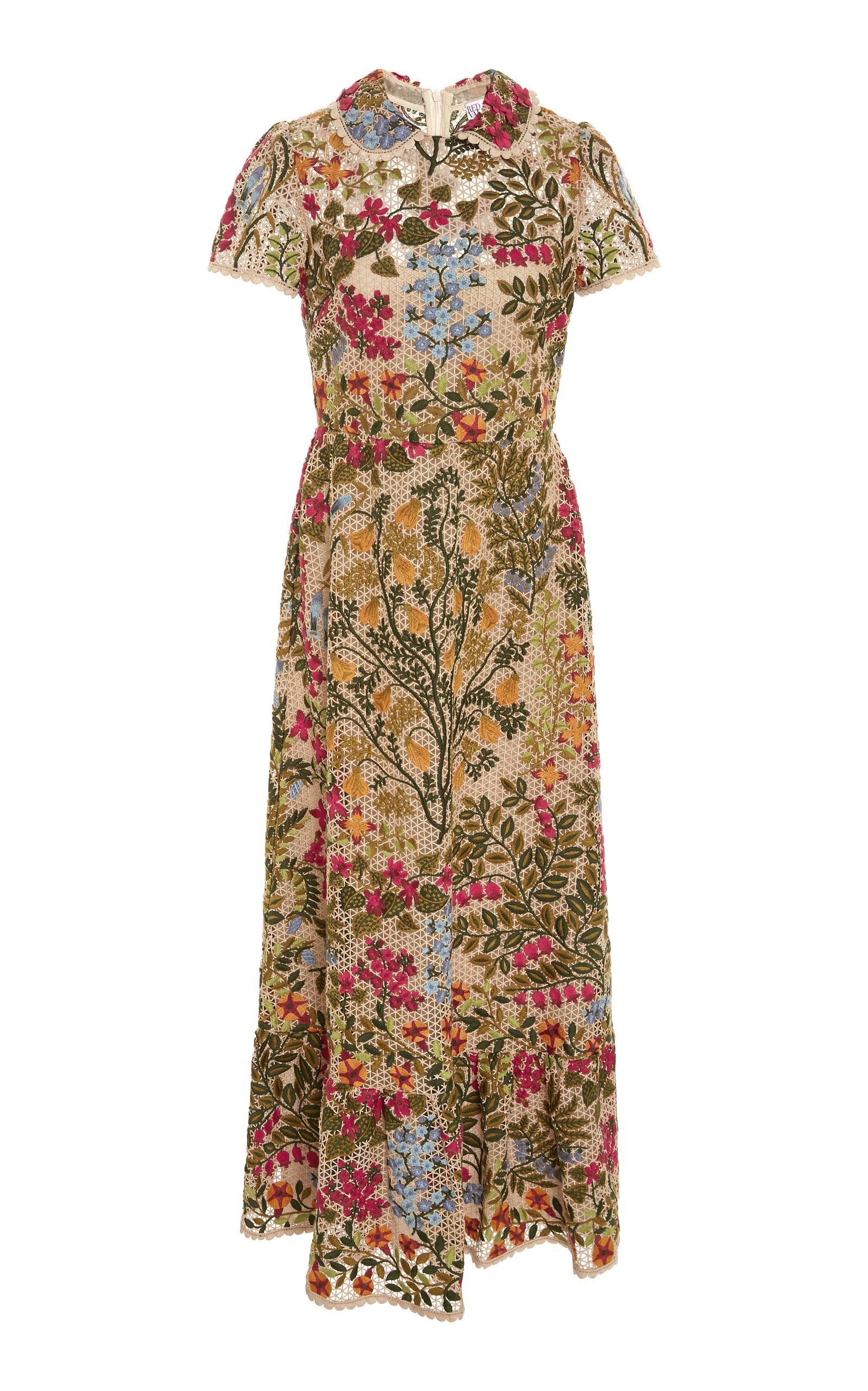 Red Valentino Floral-Embroidered Lace Midi Dress In Multi