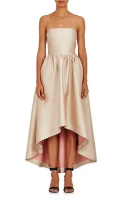 Co Rose Gold Strapless Hi Low Dress In Ivory