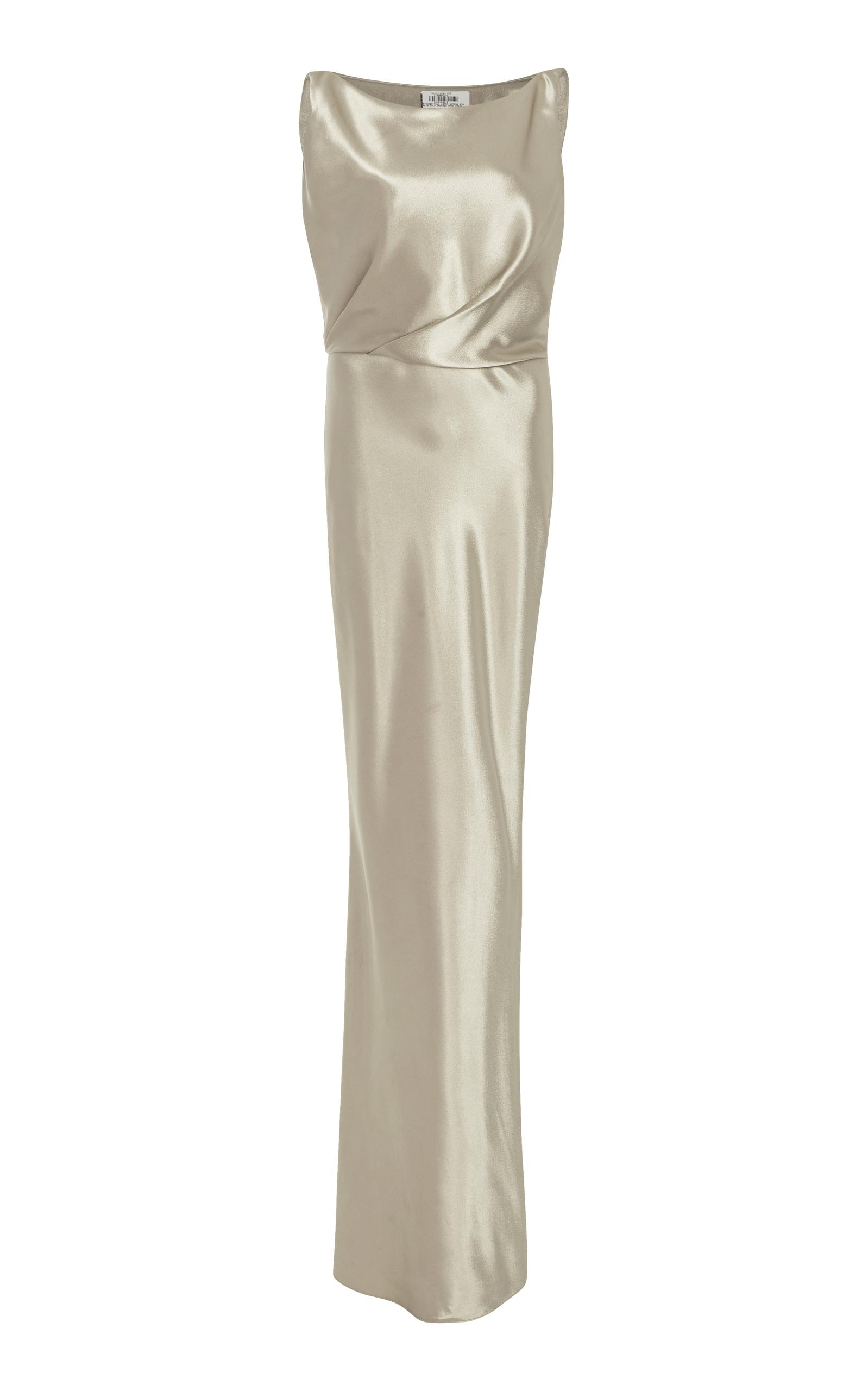 Nili Lotan Therese Silk-Charmeuse Dress In Gold