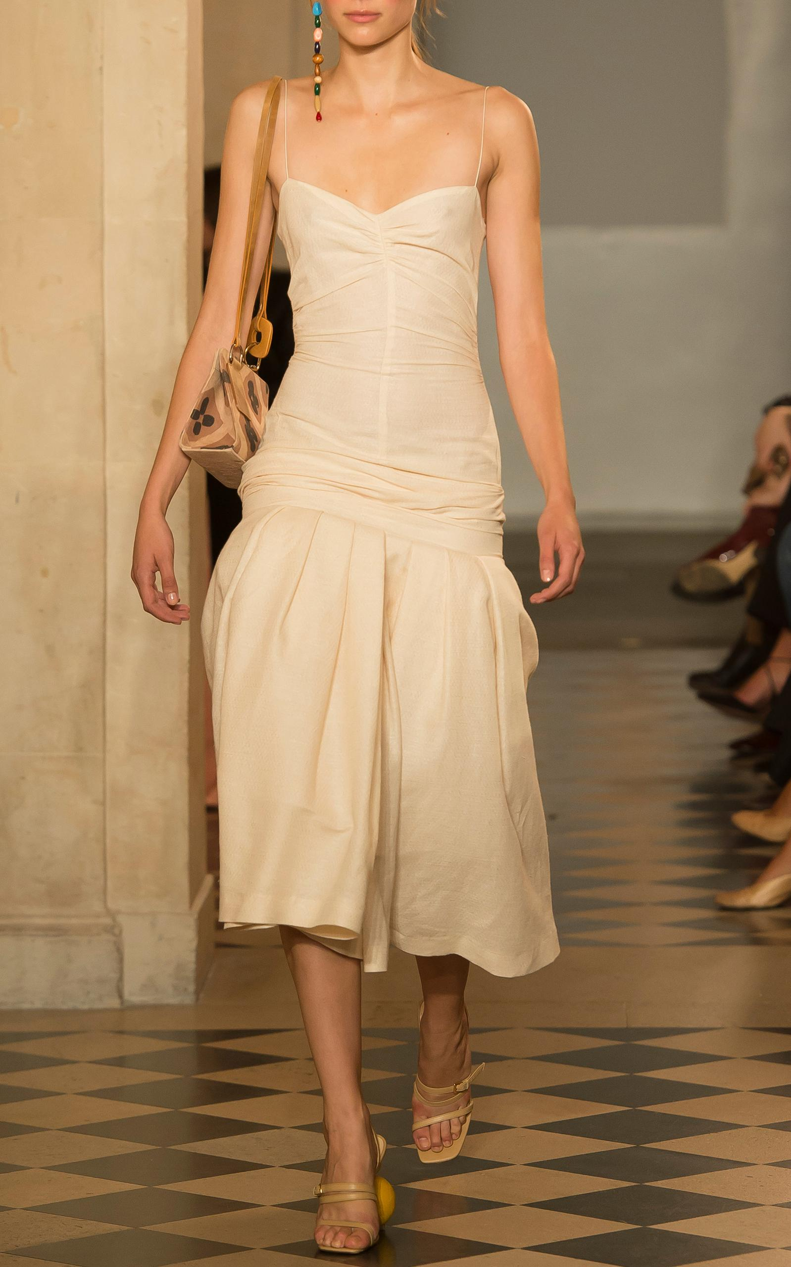 Jacquemus Dropped Waist Dress In Neutral