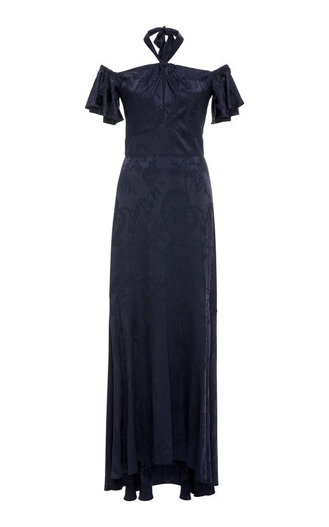 Temperley London Orbit Off-The-Shoulder Dress In Blue