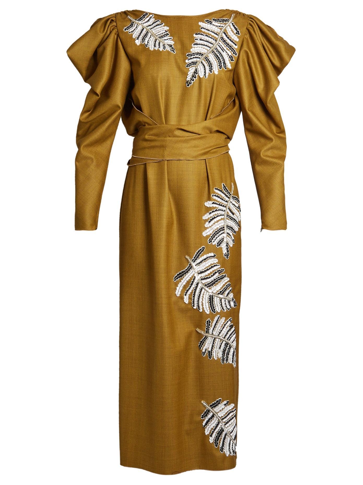 Attico Livia Sequin-Embellised Stretch-Wool Dress In Brown Multi