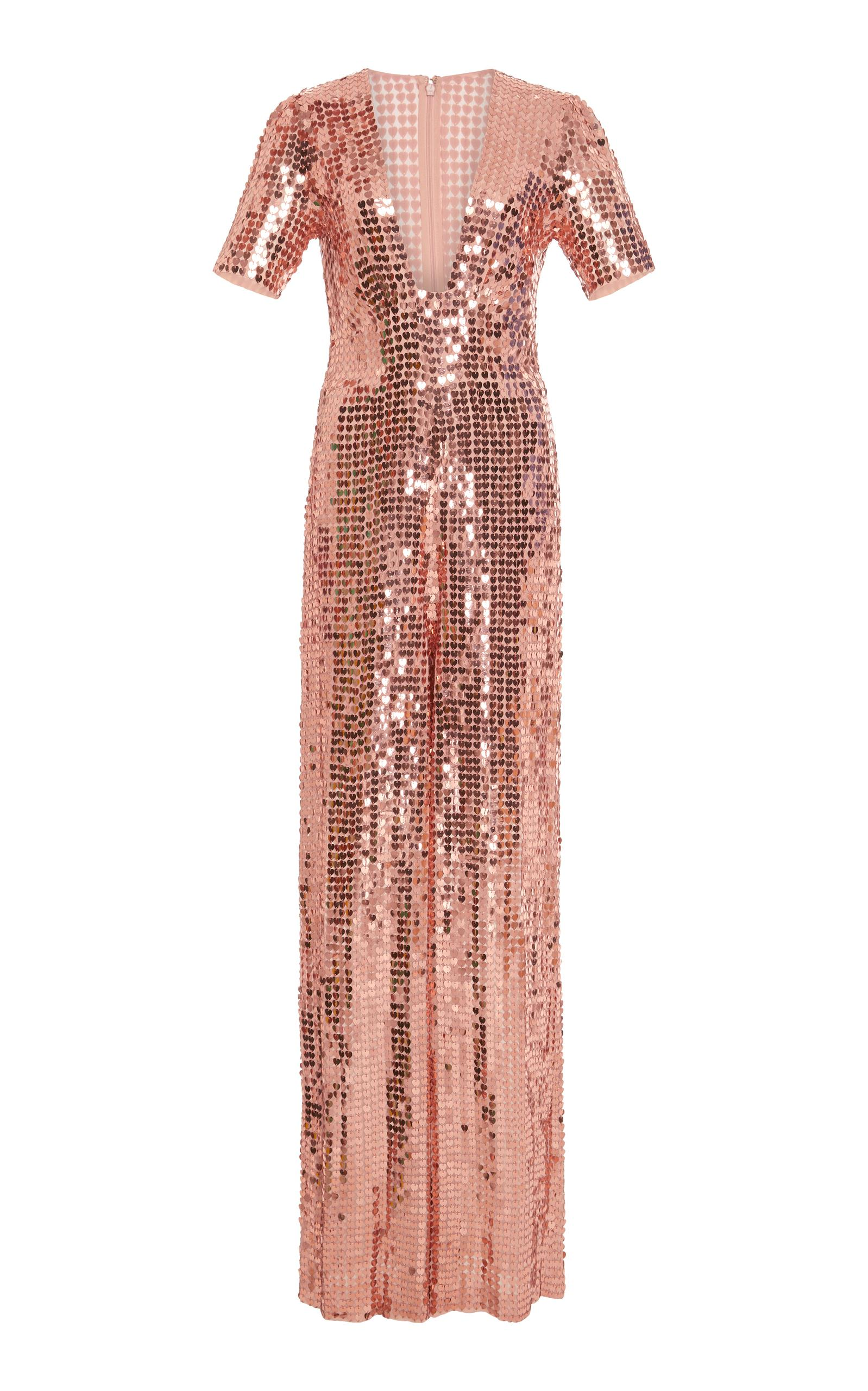 Temperley London M'O Exclusive Heart Charm Jumpsuit In Rose Gold