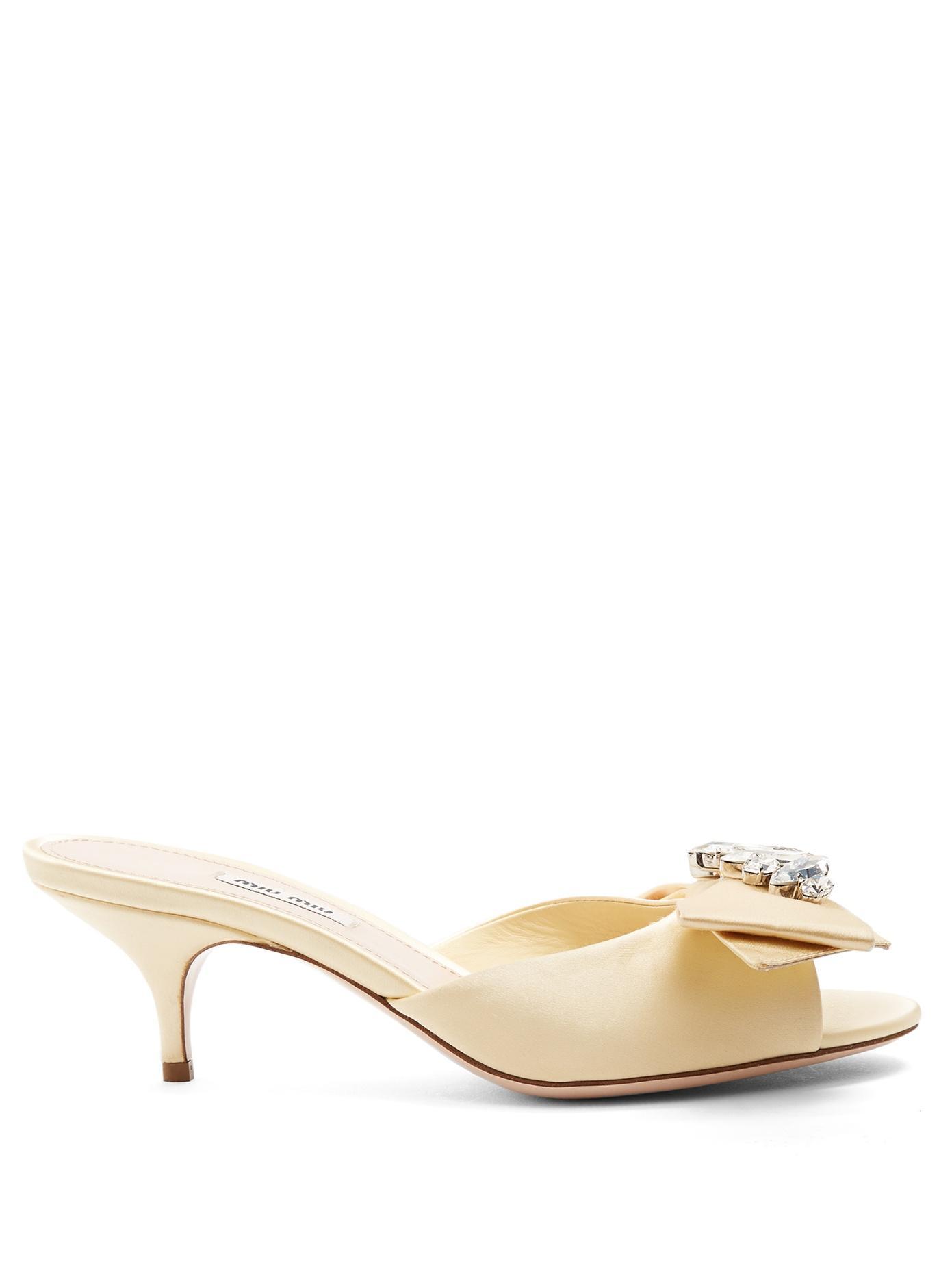 Miu Miu Embellished-Bow Satin Sandals In Yellow
