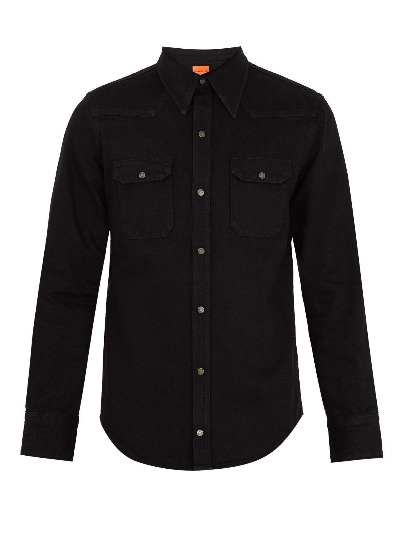 Calvin Klein 205W39Nyc Point-Collar Denim Shirt In Black
