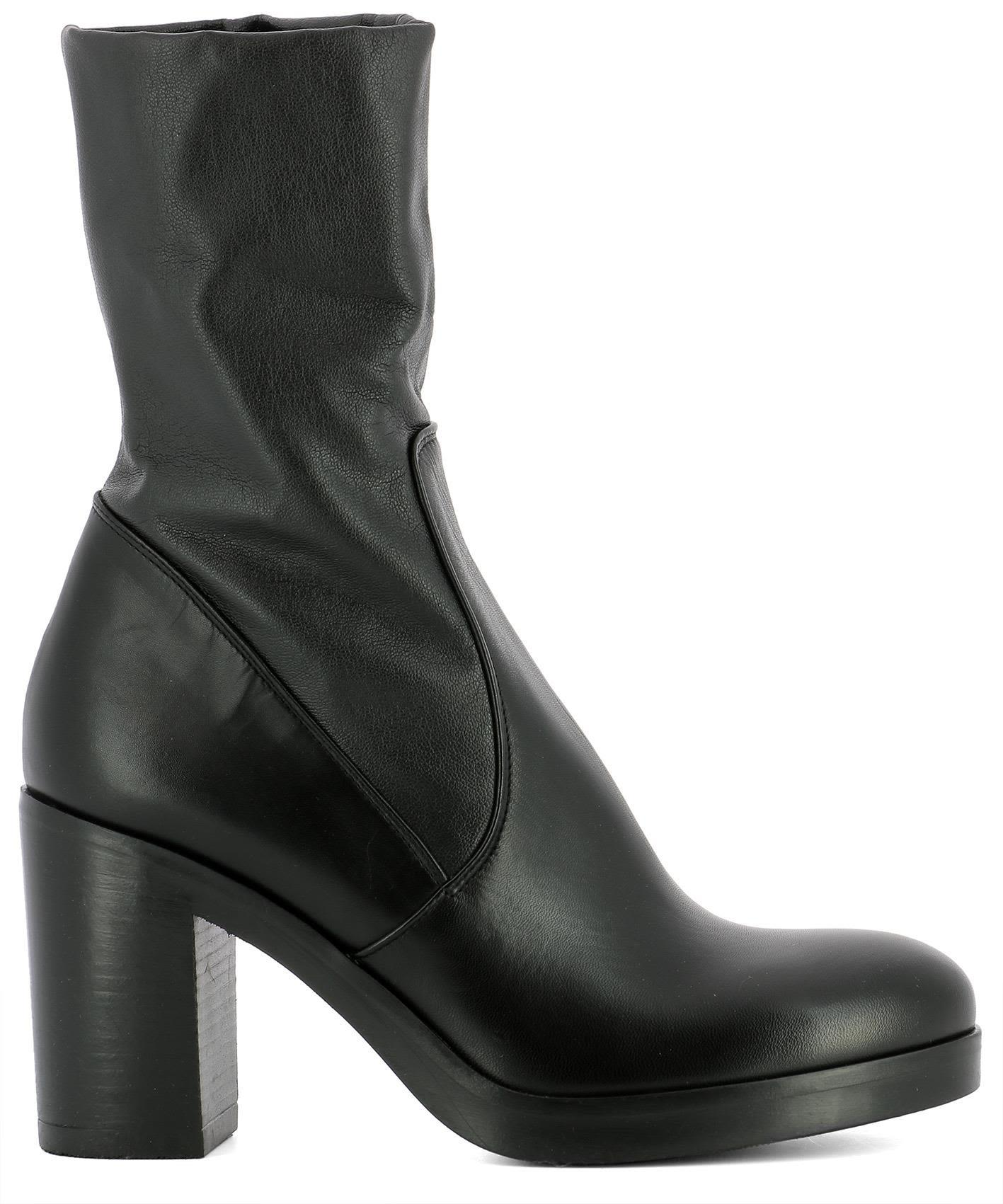 Strategia Black Leather Heeled Ankle Boots