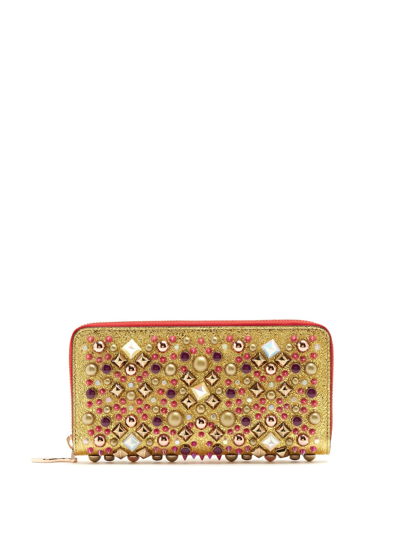 Christian Louboutin Panettone Embellished Zip-Around Leather Wallet In Gold Multi
