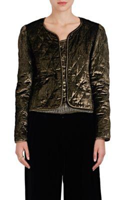 Nili Lotan Vienna Metallic Quilted Velvet Jacket In Gold