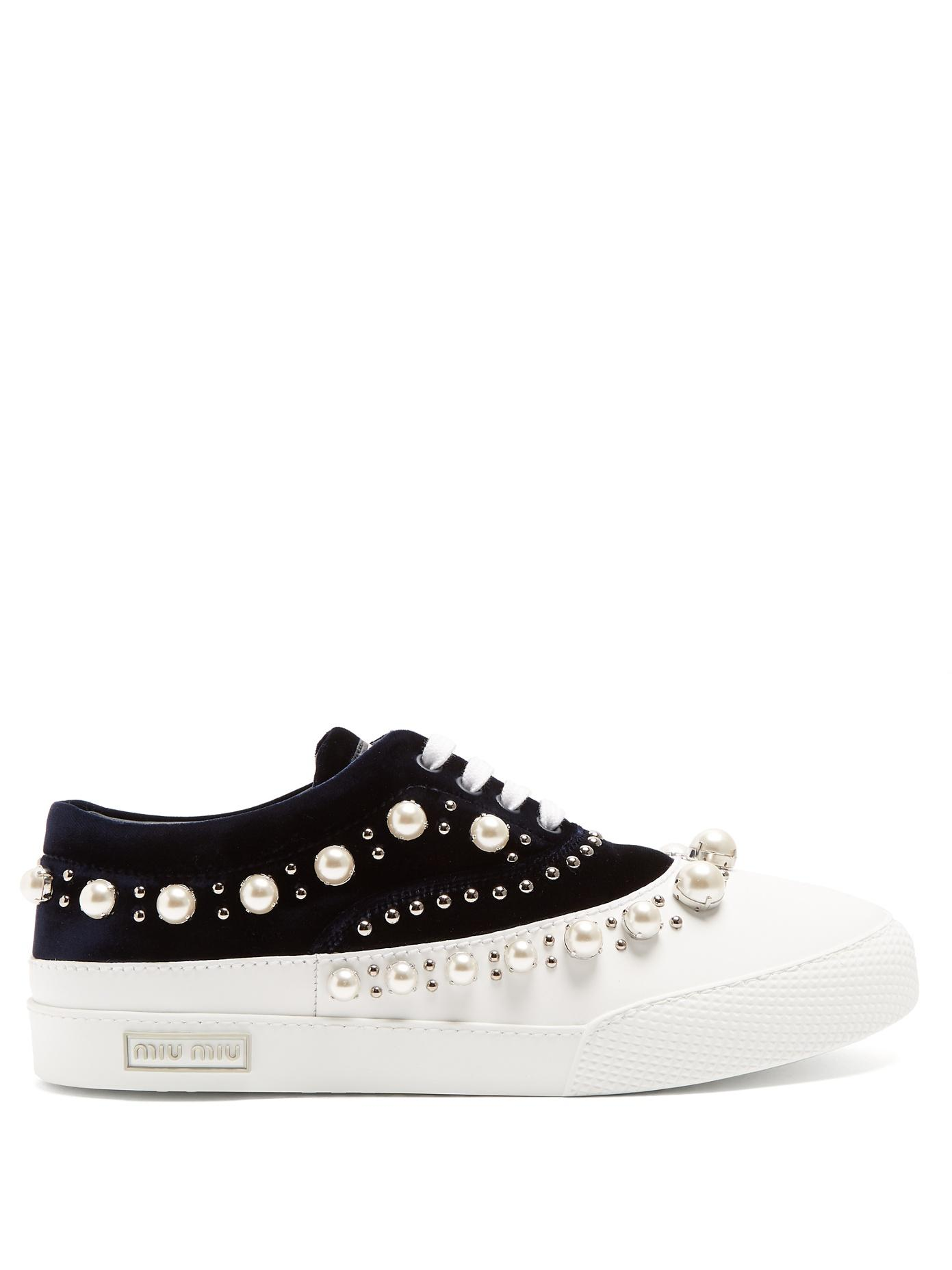 Miu Miu Faux Pearl-Embellished Velvet And Rubber Trainers In Blue White
