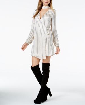 J.O.A. Choker Wrap Dress In Cream Multi