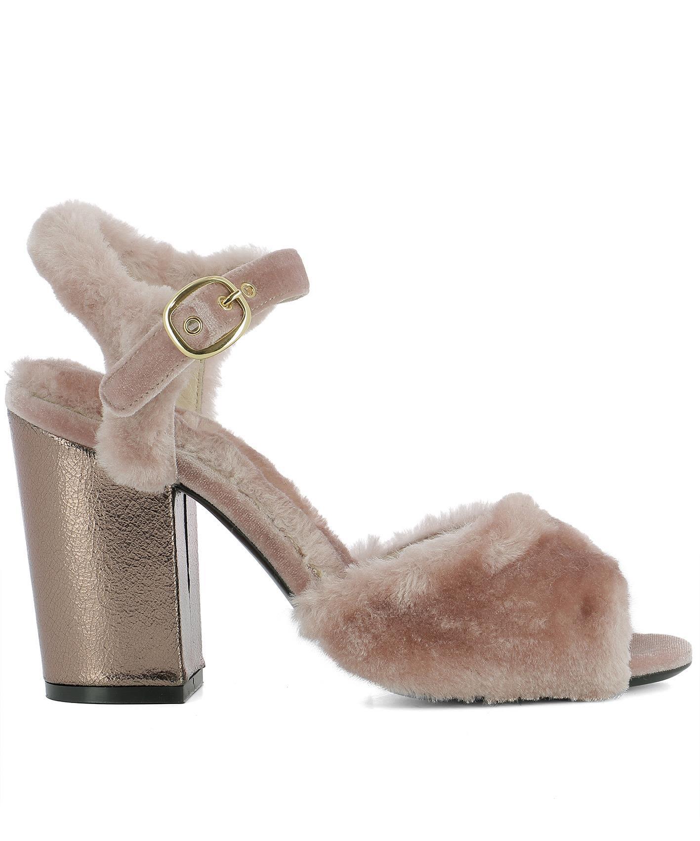 Strategia Pink Velvet Sandals