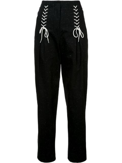 Tibi Easron Lace-Up Cotton-Blend Tapered Pants In Black