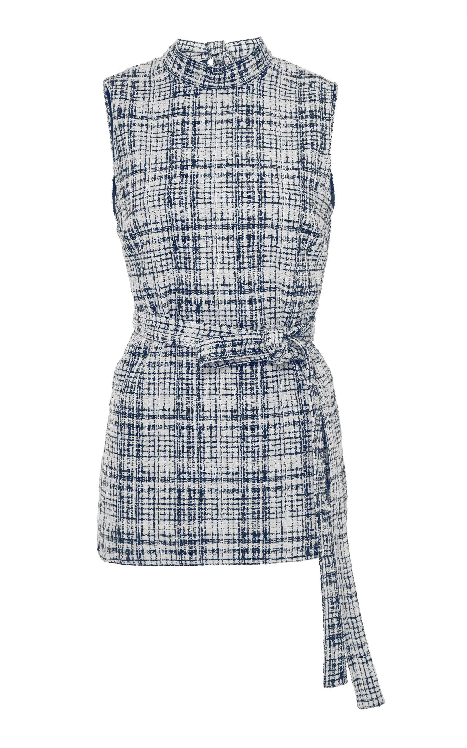 Rosetta Getty Backless Wrap Top In Plaid