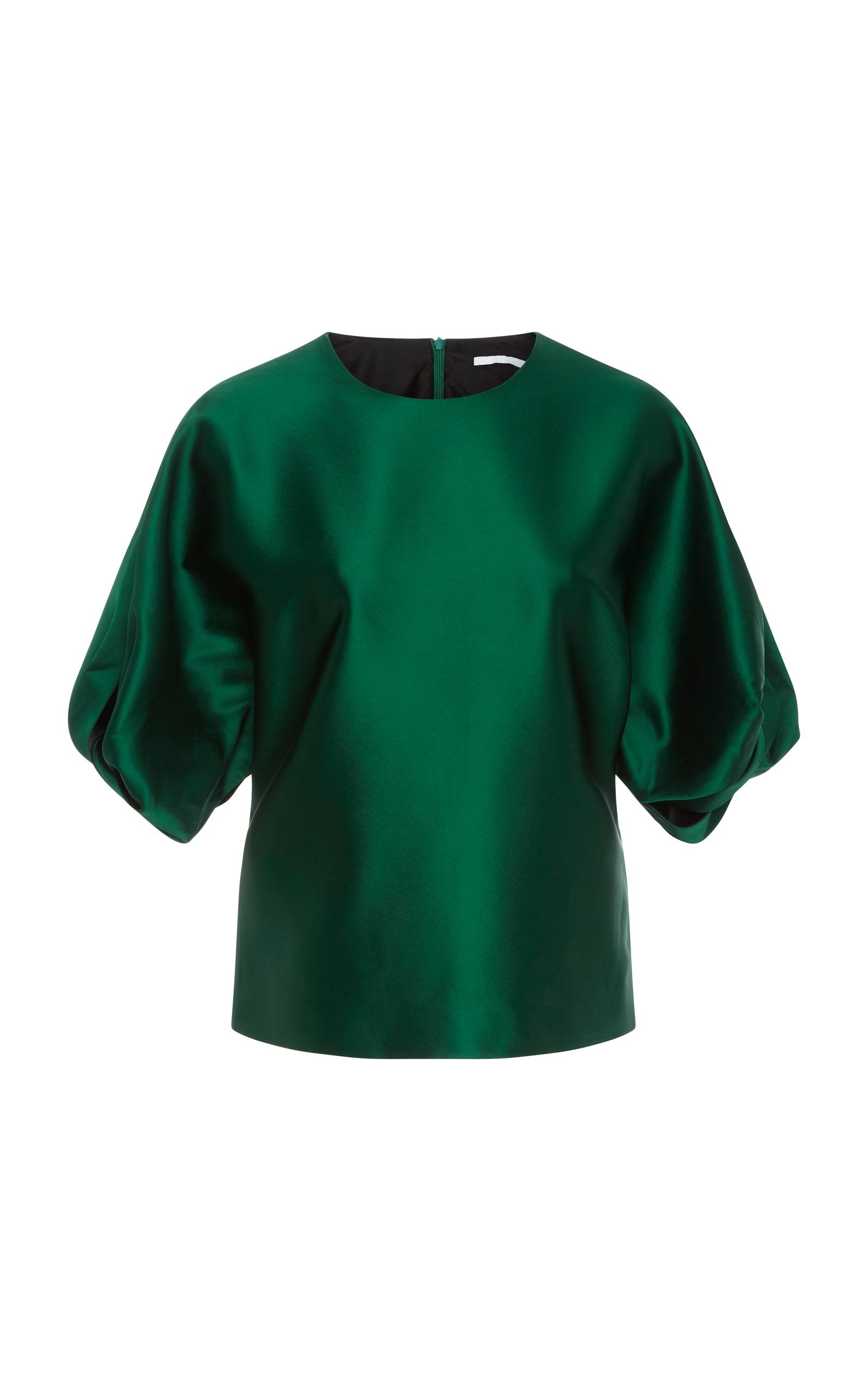 Rosetta Getty Twist Puff Sleeve Satin Blouse In Green