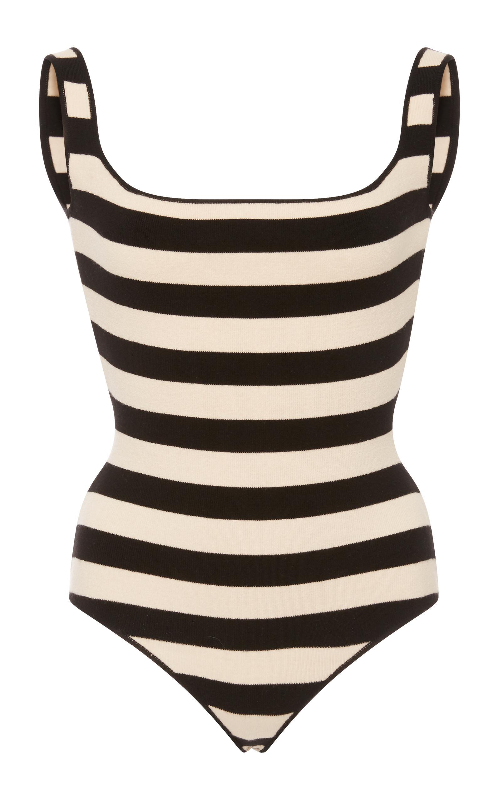 Khaite Teresa Striped Square-Neck Stretch-Knit Bodysuit