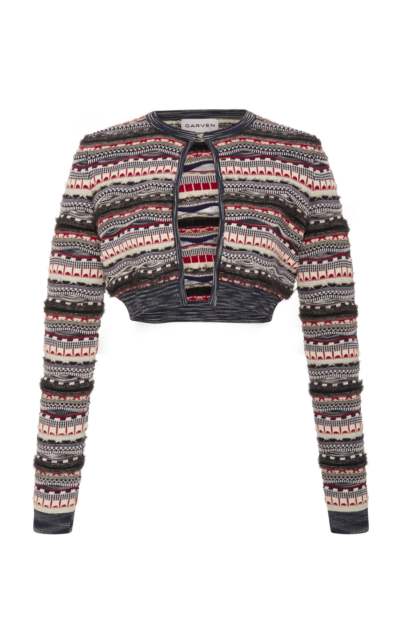 Carven Cropped Cotton-Blend Cardigan In Multi