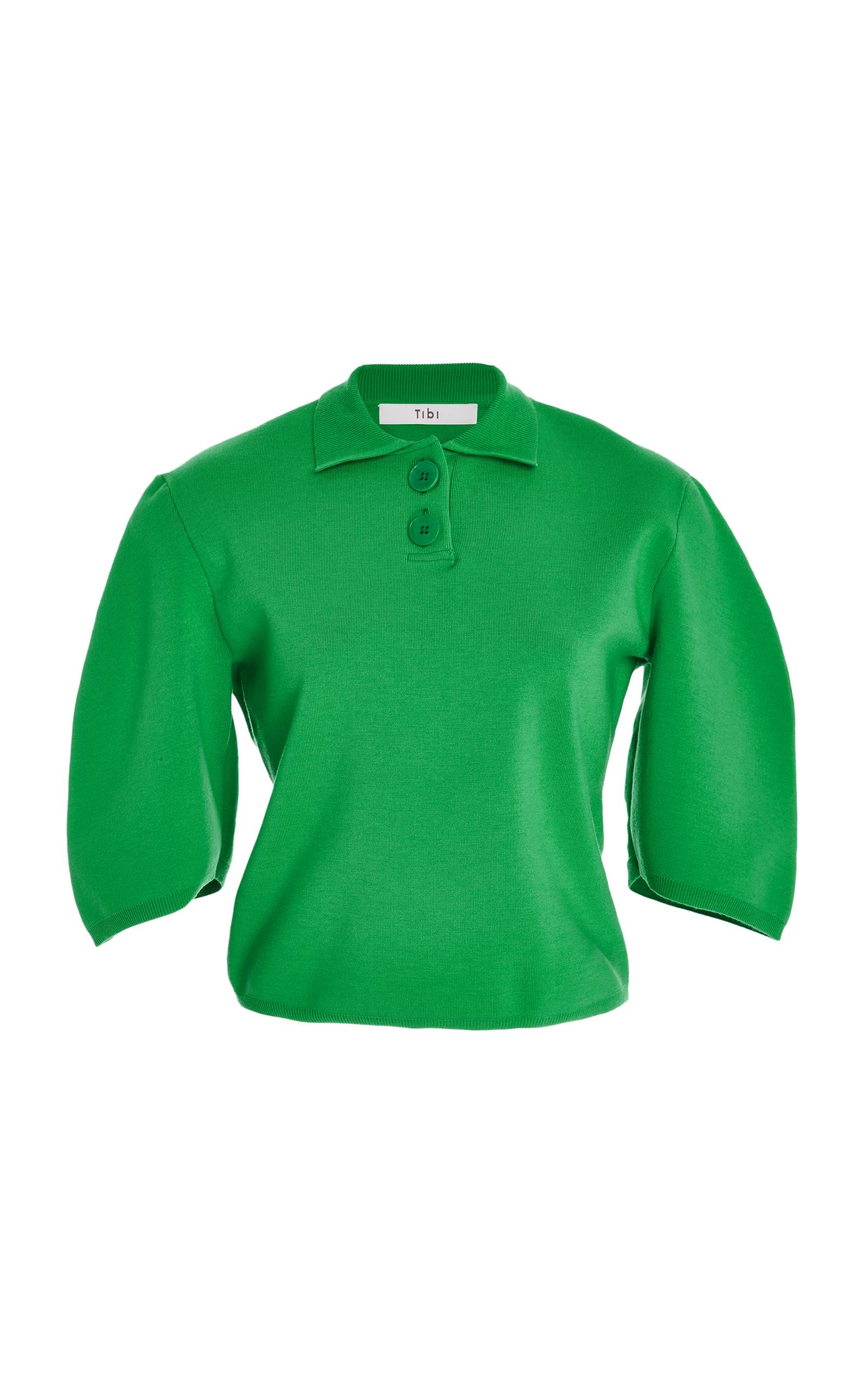 Tibi Sculpted Wool Cropped Polo-Top In Apple-Green