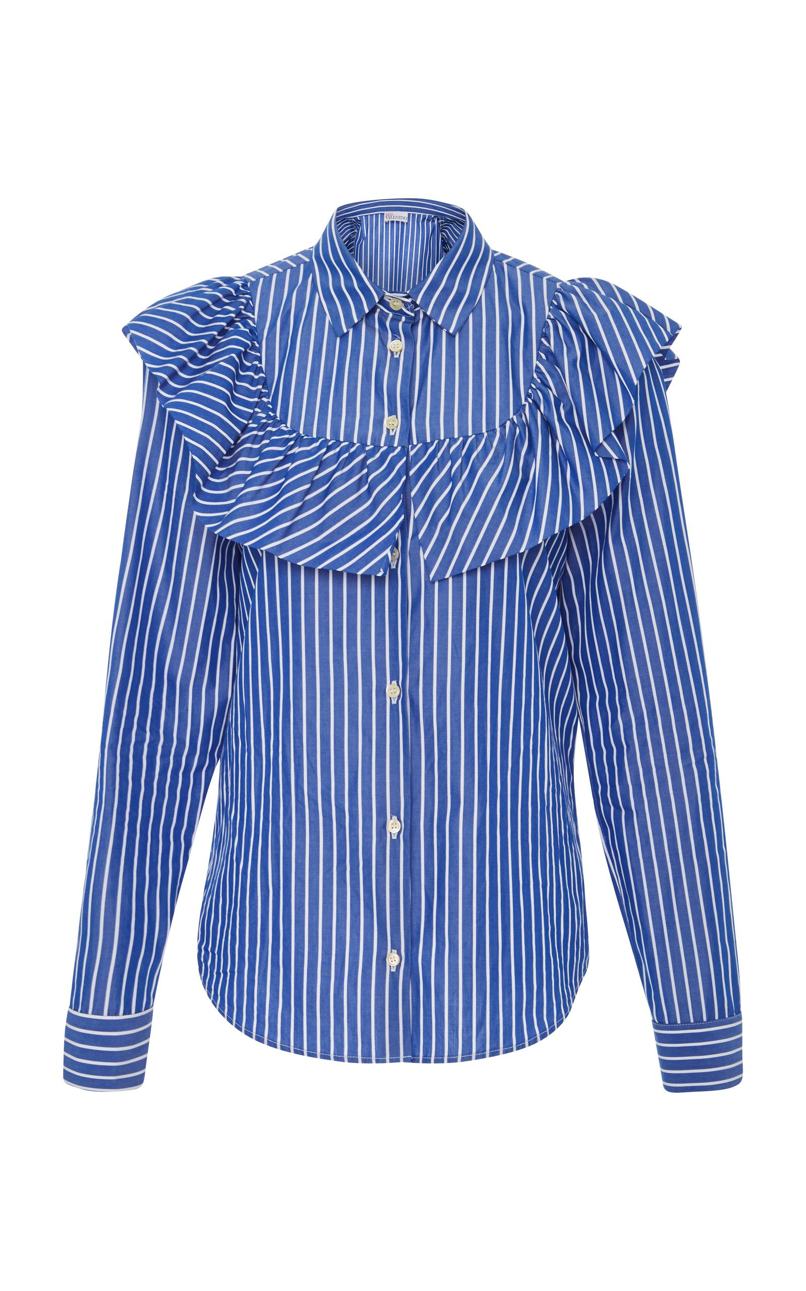 Red Valentino Ruffle-Trimmed Striped Blouse In Blue
