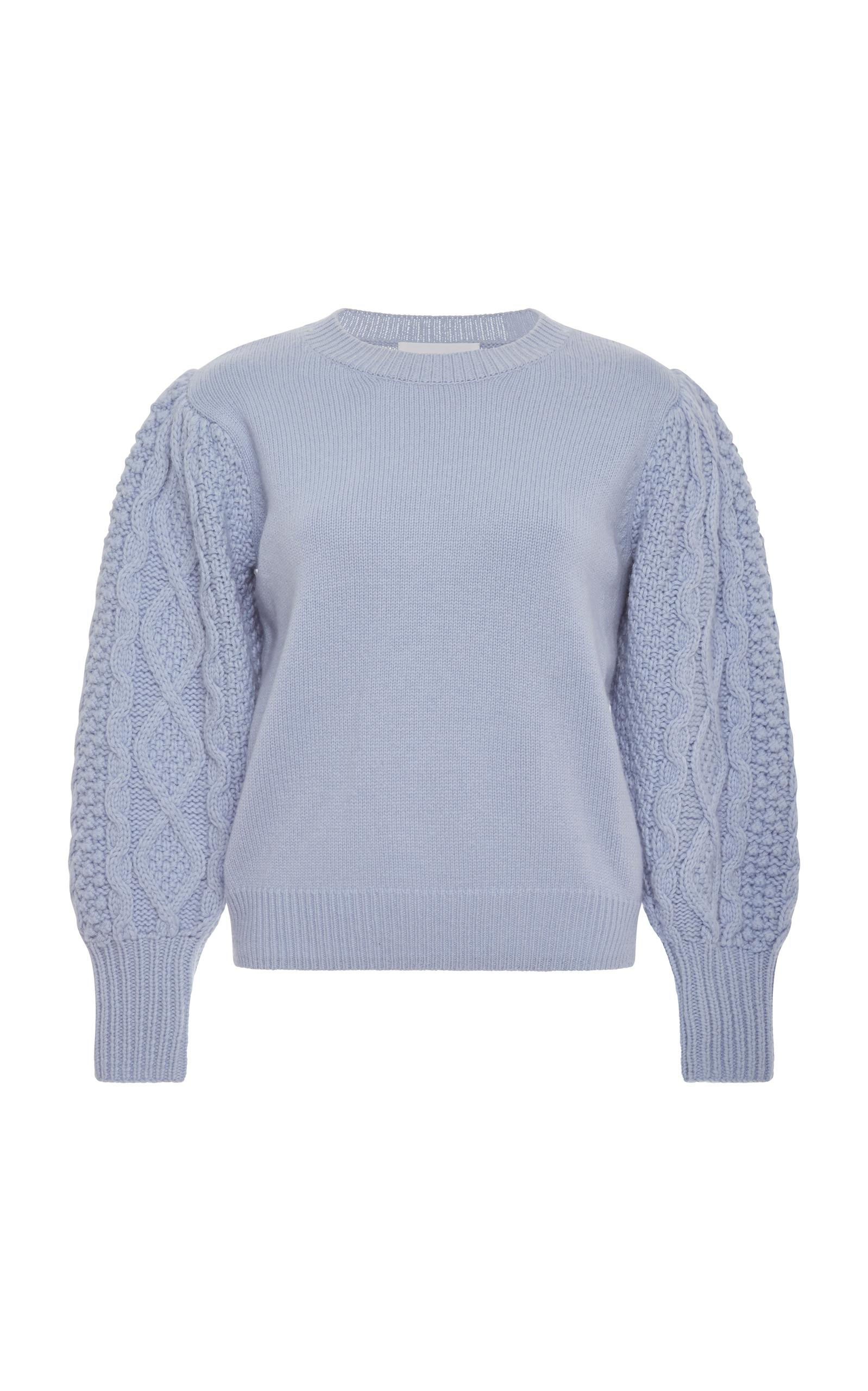 Co Cable-Knit-Sleeve Wool-Cashmere Sweater In Blue