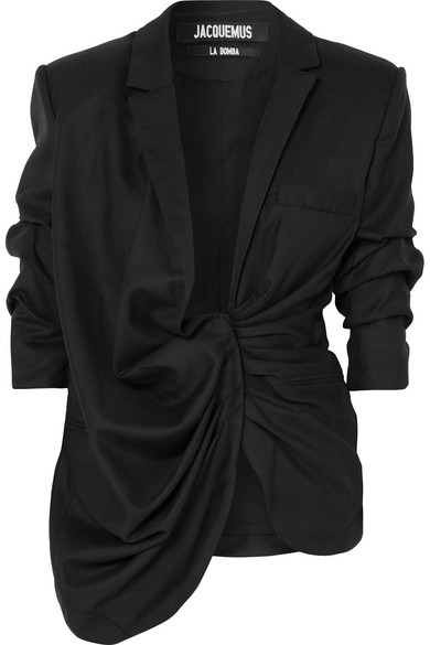 Jacquemus Ruched Bahia Collar Jacket In Black