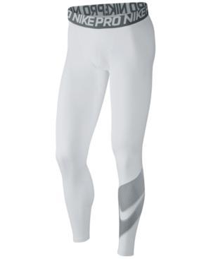 Nike Men's Pro Compression Leggings In White/Black