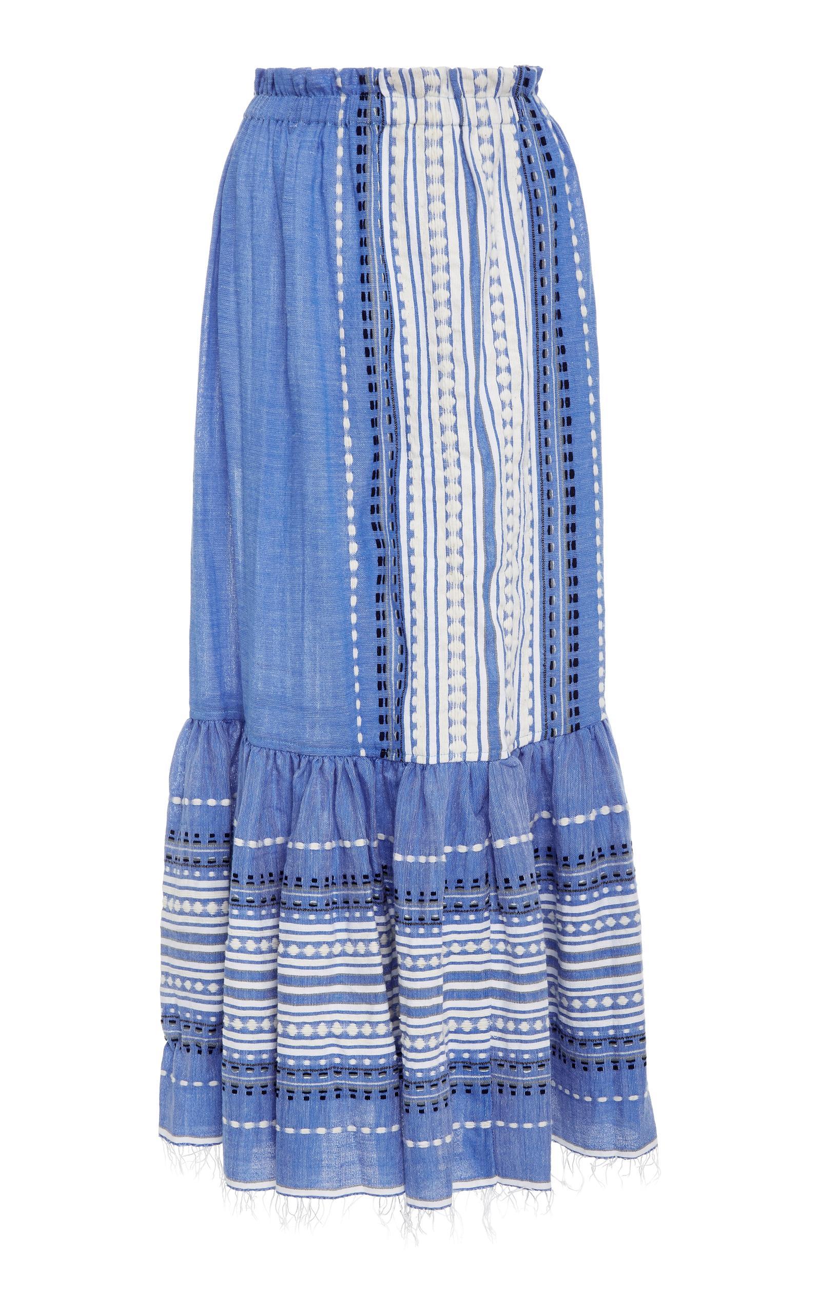 Lemlem Izara Convertible Cotton-Blend Skirt In Blue