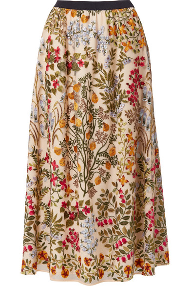 Red Valentino Multicoloured Cotton Floral Embroidered Skirt In Neutrals