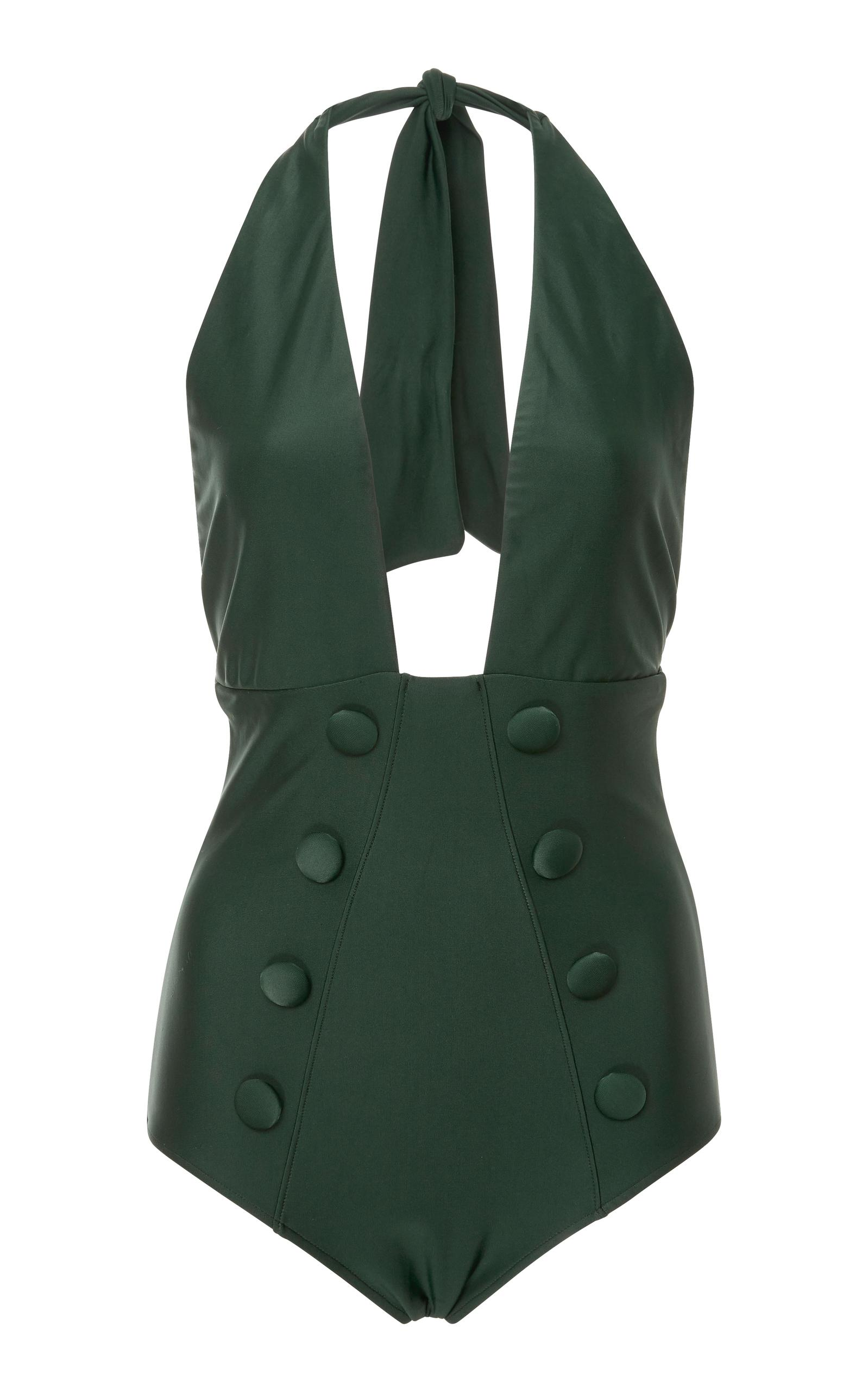 Adriana Degreas Cavalagde Plunge One-Piece Swimsuit In Green