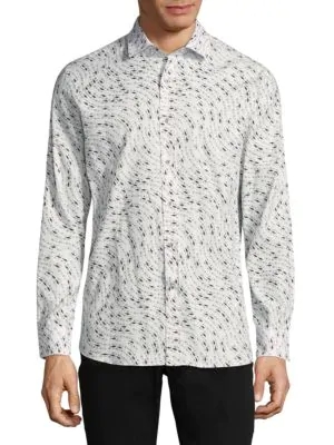 Vilebrequin Fish Print Long Sleeve Button-Down Shirt In Cloud