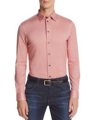 Armani Collezioni Collezioni Patterned Check Classic Fit Button-Down Shirt In Printed Red Tone
