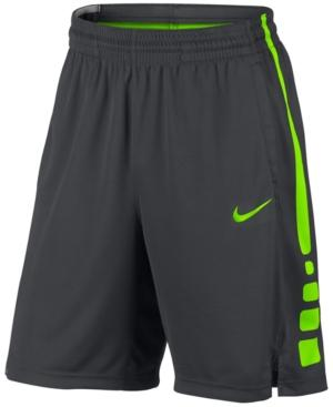 """Nike Men's Elite Dri-Fit 9"""" Basketball Shorts In Anthracite/Electric Green"""