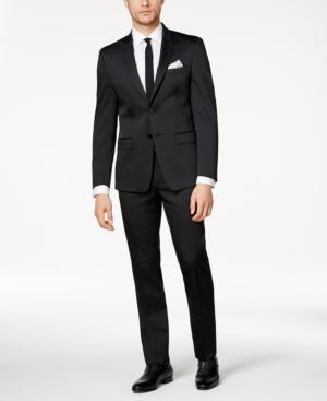 Calvin Klein Men's Big & Tall Slim-Fit Black Solid Peak Lapel Suit