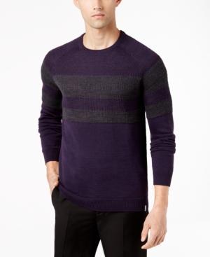 Calvin Klein Men's Merino Wool Stripe Sweater In Livingo Combo